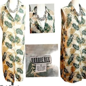 Robbie Bee Tropical Silk Dress NWT